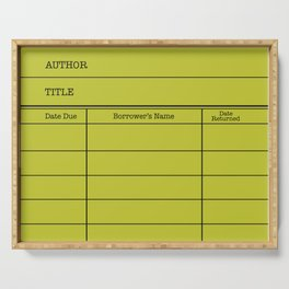 LiBRARY BOOK CARD (lime) Serving Tray
