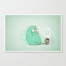 Monster and Tea Canvas Print