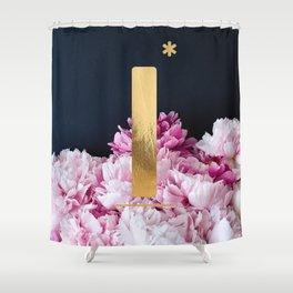 Pink Peonies Flower Alphabet Golden Letter I Shower Curtain