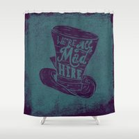 alice in wonderland Shower Curtains featuring Alice in Wonderland by Drew Wallace