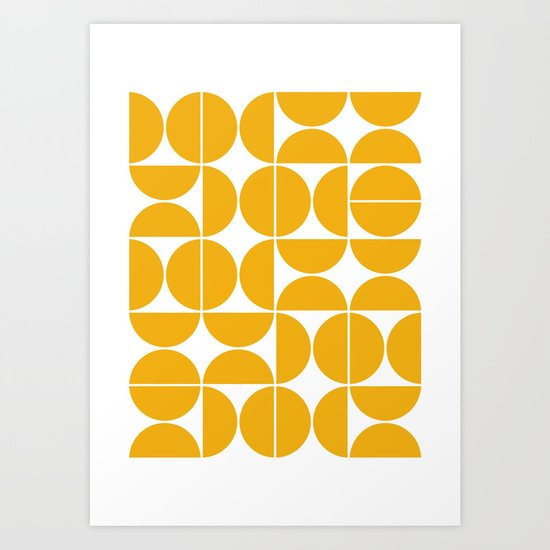 Mid Century Modern Geometric 04 Yellow by theoldartstudio