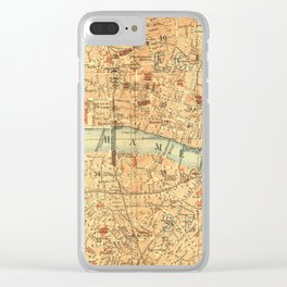 Vintage Map London South Bank Thames Clear iPhone Case