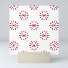 Snowflakes - white and red Mini Art Print