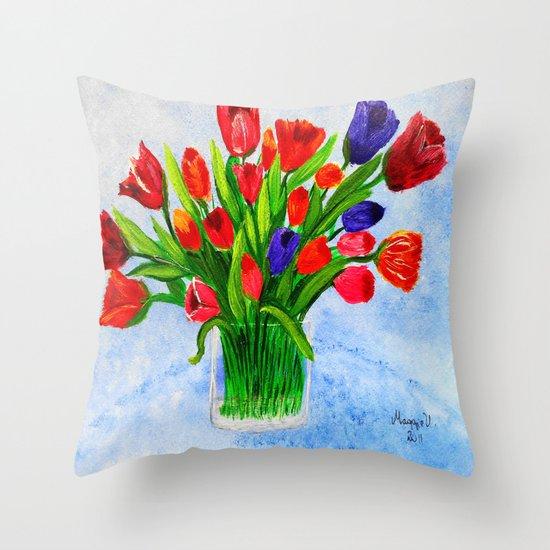 Short stem tulips Throw Pillow