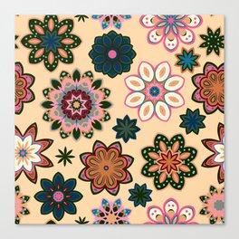 Flower retro pattern. Green pink flowers on beige background. Canvas Print