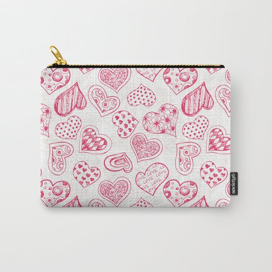 Pattern with red hearts Carry-All Pouch