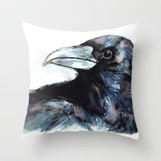 Raven, Watercolor Throw Pillow