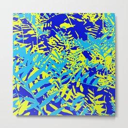 Happy Blue Yellow Green Foliage Metal Print