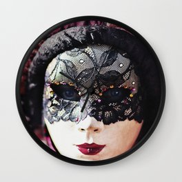 Carnival of Venice - Girl in Mask Wall Clock