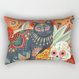 Dia De Los Muertos Cat Rectangular Pillow