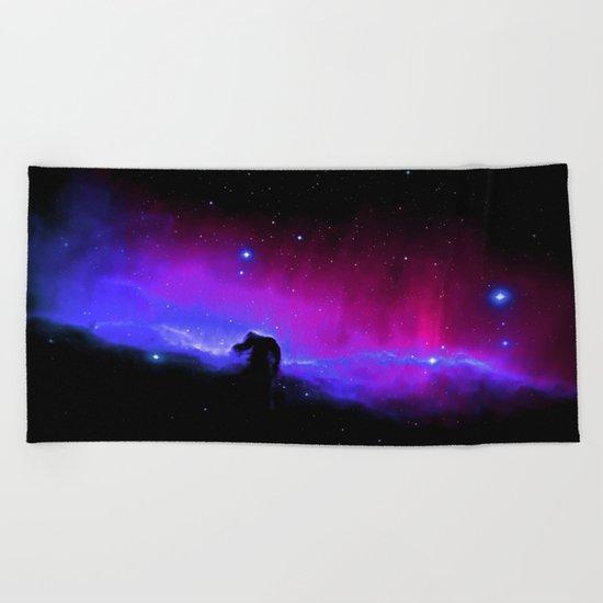 nEbulA : Horsehead Nebula Fuchsia & Violet Beach Towel