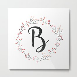 Floral Initial Wreath Monogram B Metal Print