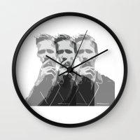 ryan gosling Wall Clocks featuring Ryan Gosling by Harry Martin