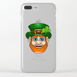 Leprechaun Smiling Face Irish St Patty_s Day Clear iPhone Case