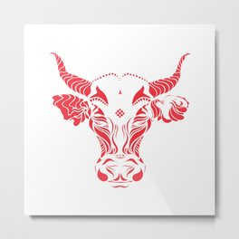 Red cattle in the wind by #Bizzartino Metal Print
