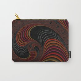 Colorful Abstract Zen Stripes Funky Stylish Red Gold Black Fractal Digital Graphic Art Design Carry-All Pouch