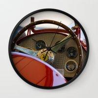 f1 Wall Clocks featuring 1950 Ferrari 212 F1 Interior by Andre Gascoigne