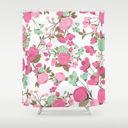 Botanical pink mint green girly floral illustration Shower Curtain