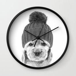 Black and White Cocker Spaniel Wall Clock