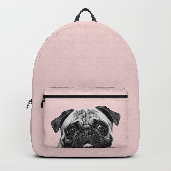 Blush pink Pug pop Rucksack