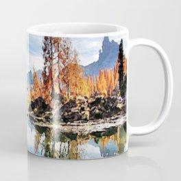 Color trees in the lake Coffee Mug