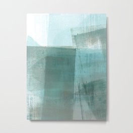 Turquoise Aqua Taupe Geometric Abstract Painting Metal Print