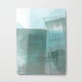 Turquoise Aqua Taupe Geometric Abstract Painting Metal Print