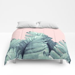 Blush Banana Leaves Dream #5 #tropical #decor #art #society6 Comforters