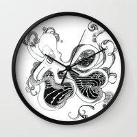 kraken Wall Clocks featuring 'Kraken' by emily sams