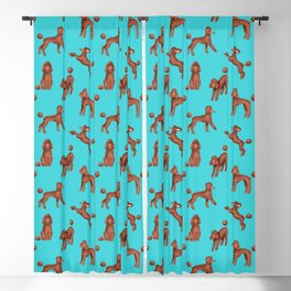 Chocolate Poodles Pattern  (Turquoise Background) Blackout Curtain