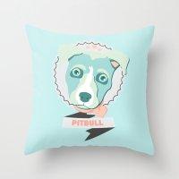 pitbull Throw Pillows featuring Pastel Pitbull by Minette Wasserman