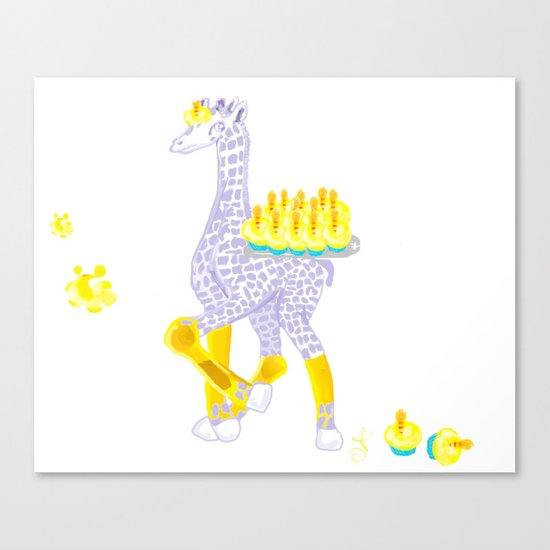 Birthdays are Coming - Midas is Ready - Christmas Lavender Giraffe Canvas Print