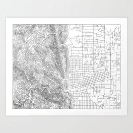 Boulder, Colorado Topo Map Art Print