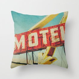 Thrashed Motel Sign Throw Pillow
