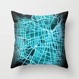 SANTIAGO,  CHILE, Blue, White, Neon, Glow, City, Map Throw Pillow