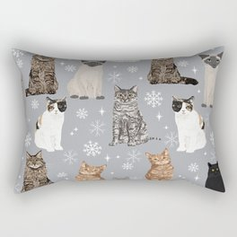 Cat breeds snowflakes winter cuddles with kittens cat lover essential cat gifts Rectangular Pillow