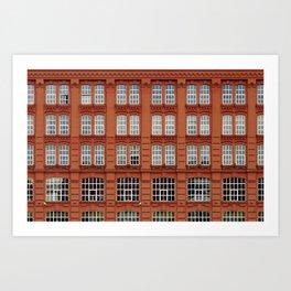 Red bricks building wall Art Print