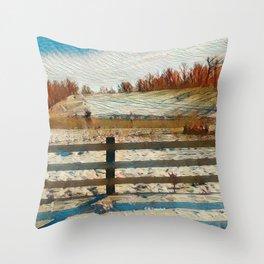 """ Winter Fence "" Throw Pillow"