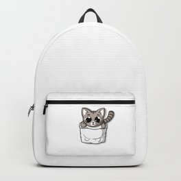 Cute Gray Pocket Cat Backpack
