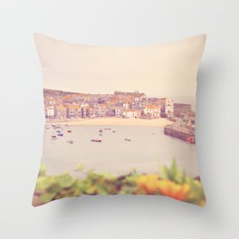 Cornish harbour. Throw Pillow