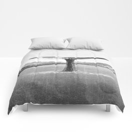 Whale In A French Lake in Black And White Comforters