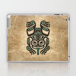 Teal Blue and Black Haida Spirit Tree Frog Laptop & iPad Skin