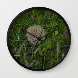 Field of flowers and Dandelions Wall Clock