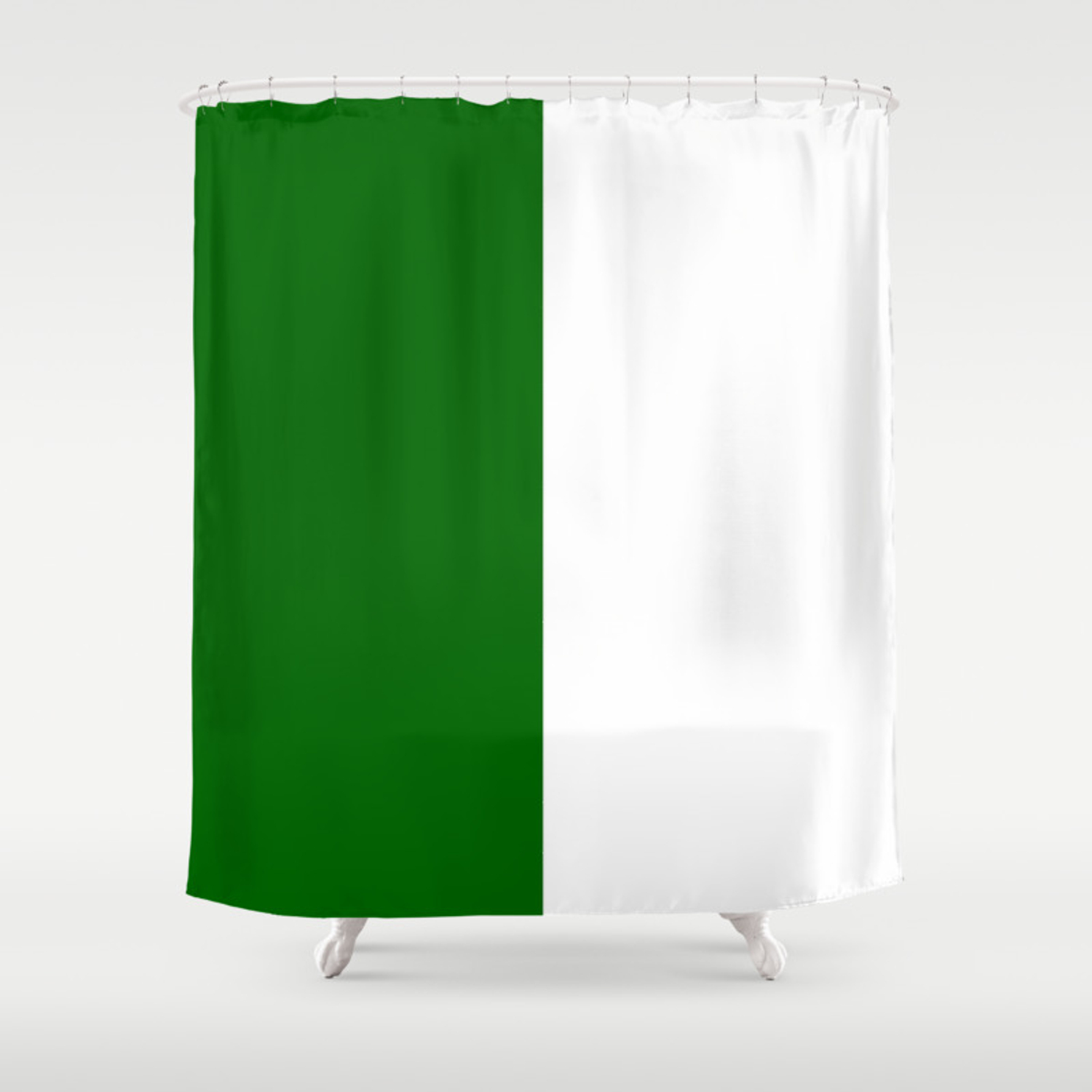 White And Dark Green Vertical Halves Shower Curtain