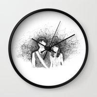 500 days of summer Wall Clocks featuring 500 days of summer by Aleishajune