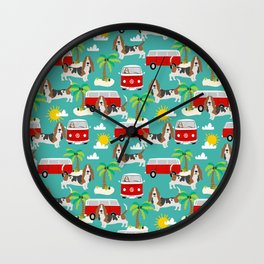 Basset Hound mini van tropical dog breed pattern hippie van custom dog portraits Wall Clock