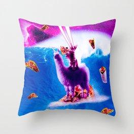 Laser Eyes Space Cat Riding On Surfing Llama Unicorn Throw Pillow