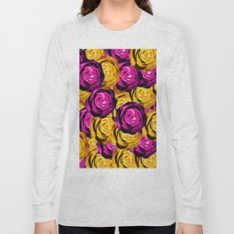 rose pattern texture abstract background in pink and yellow Long Sleeve T-shirt