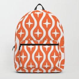 Mid century Modern Bulbous Star Pattern Orange Backpack