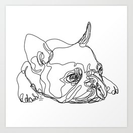 French Bulldog Puppy One Line Drawing Art Print